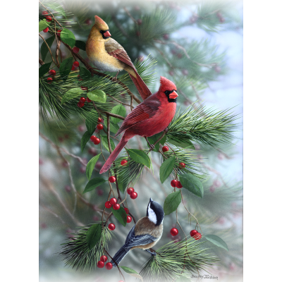 Berry Pickers - Cardinals and Chickadee