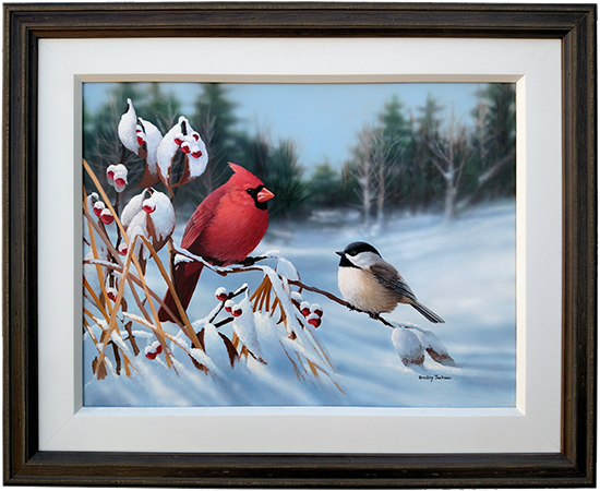 Hidden Valley - Cardinal & Chickadee - original artwork