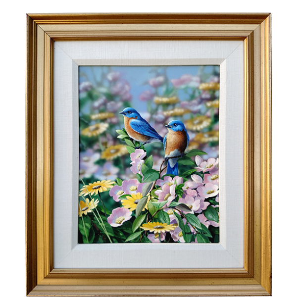Summer Blues - Eastern Bluebirds - original artwork